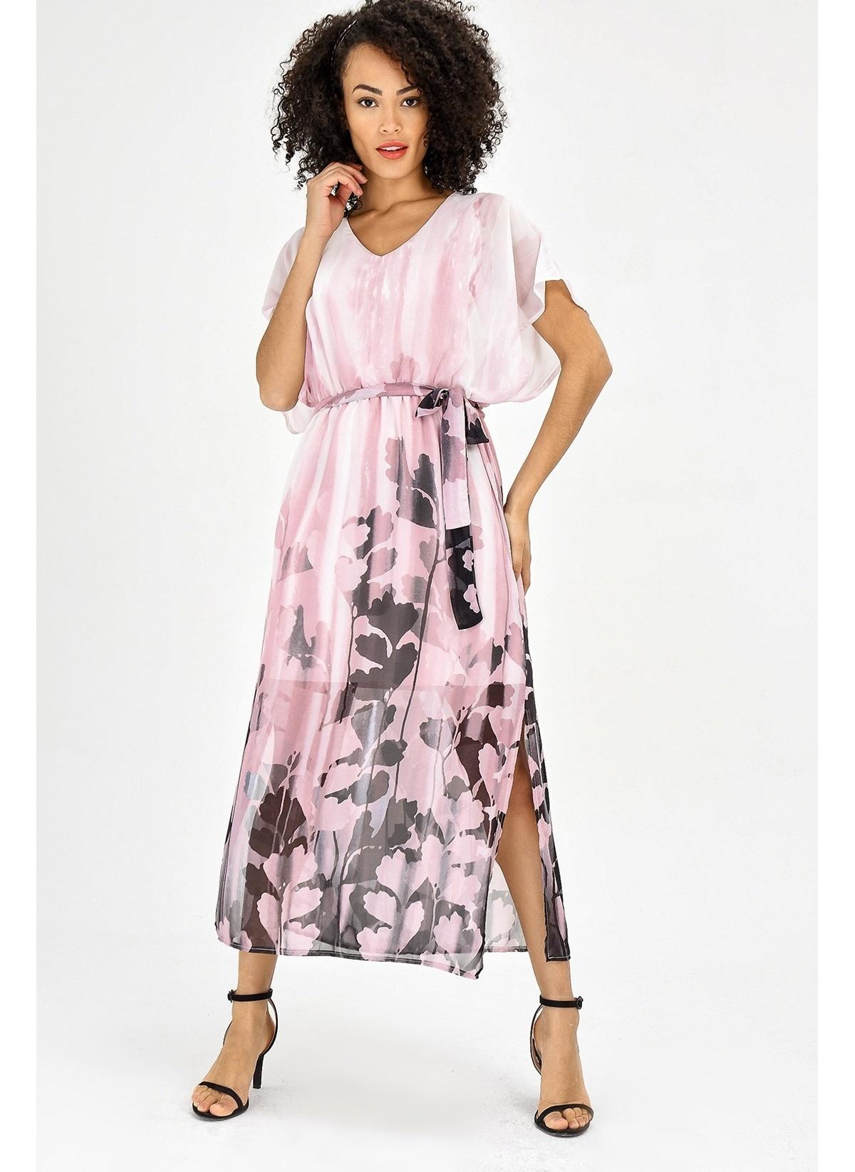 c7018c9f0c410 Jument Kadın Şifon V Yaka Yarasa Salaş Beli Lastikli Elbise Pembe Ç ...